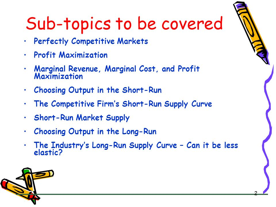 Sub-topics to be covered