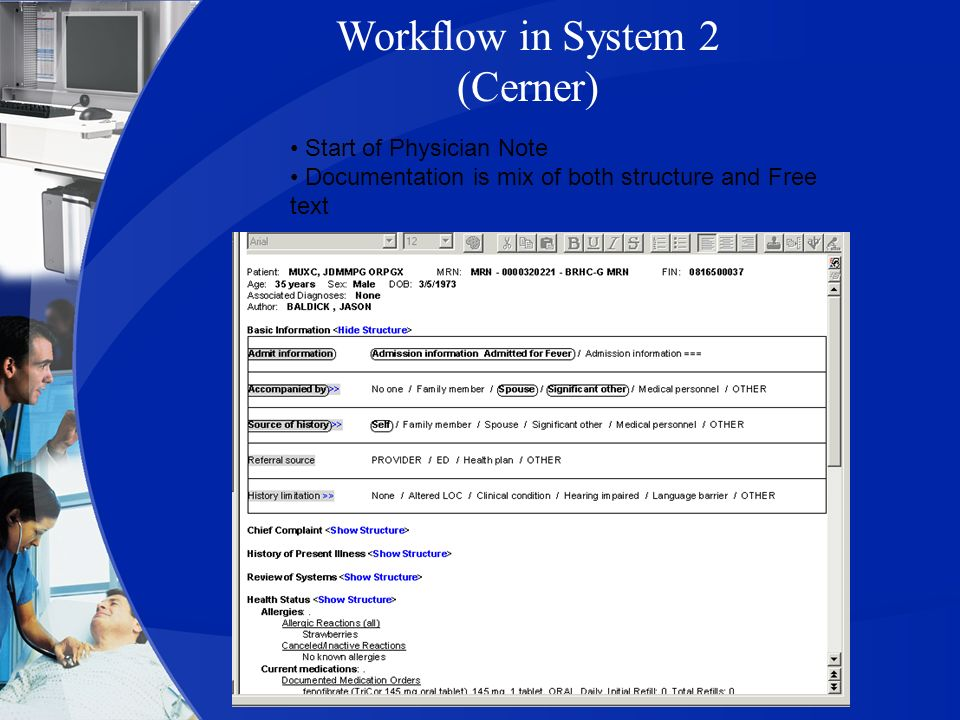 Workflow in System 2 (Cerner)