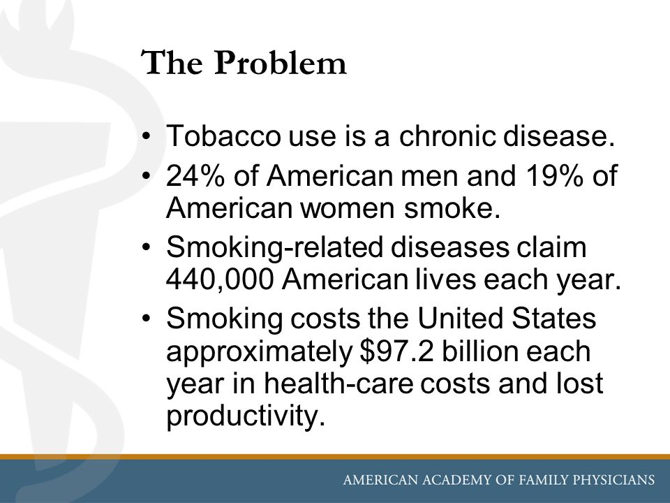The Problem Tobacco use is a chronic disease.