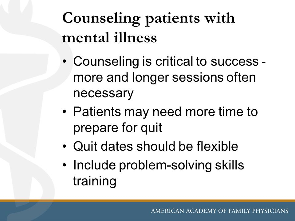 Counseling patients with mental illness