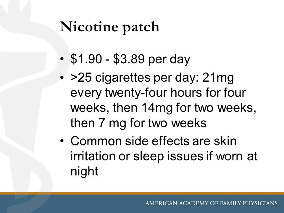 Nicotine patch $1.90 - $3.89 per day