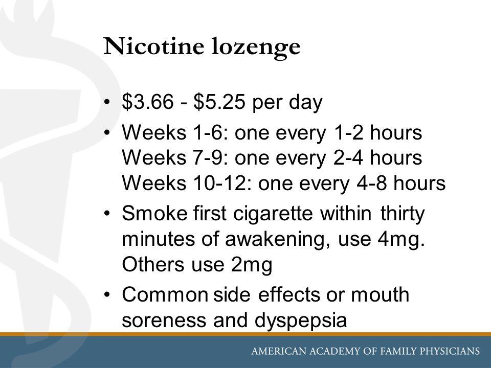 Nicotine lozenge $3.66 - $5.25 per day