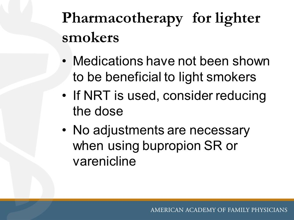 Pharmacotherapy for lighter smokers