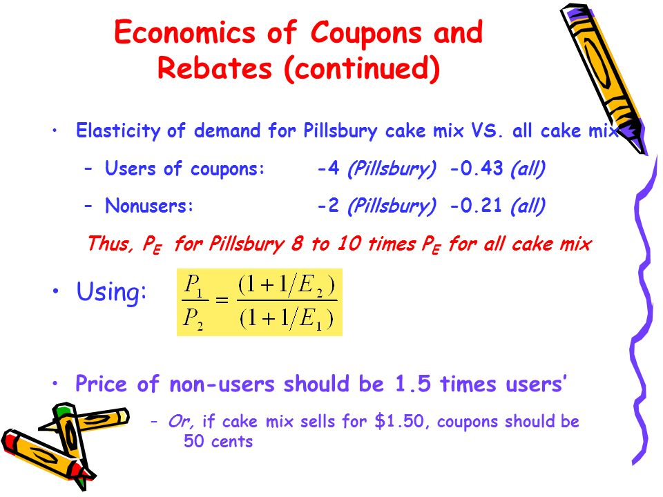 Economics of Coupons and Rebates (continued)