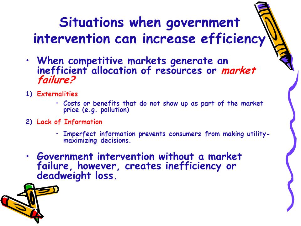 Situations when government intervention can increase efficiency
