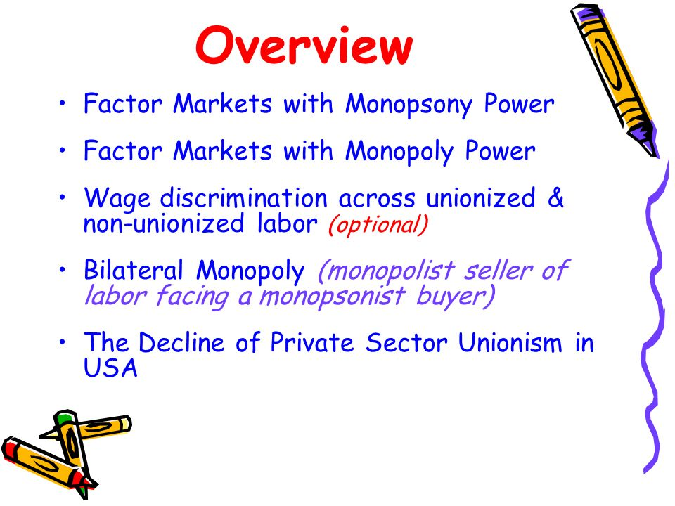 Overview Factor Markets with Monopsony Power