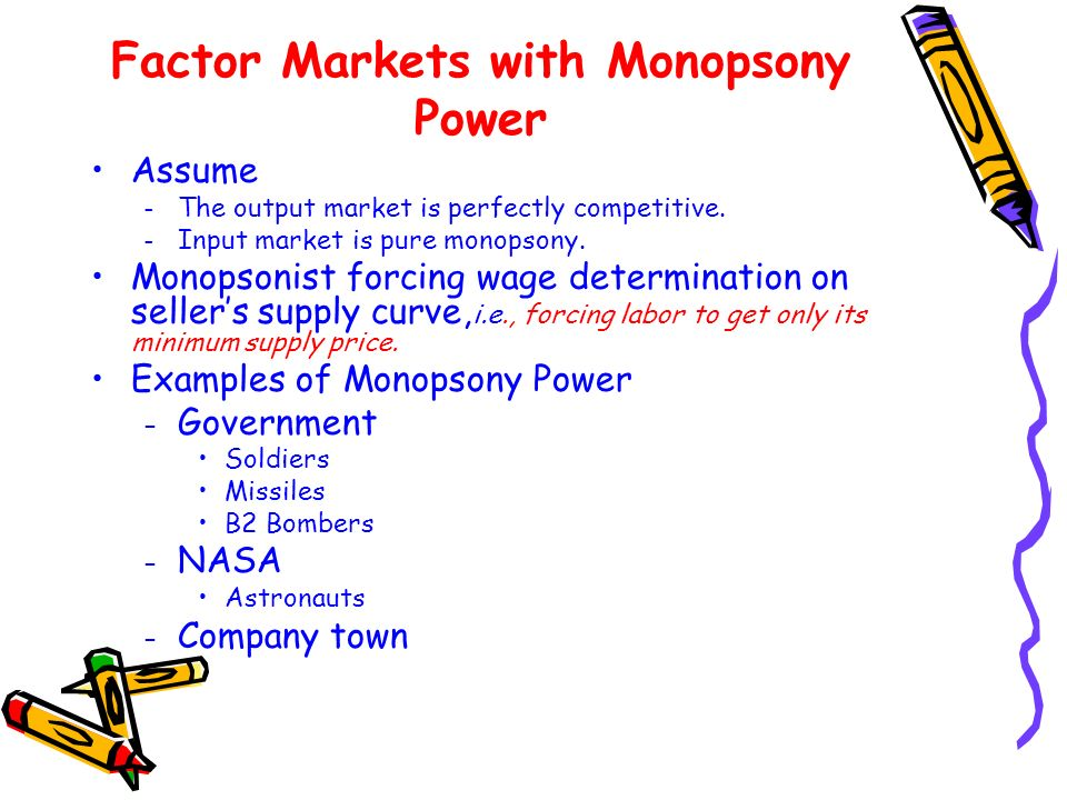 Factor Markets with Monopsony Power