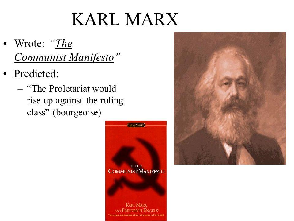 KARL MARX Wrote: The Communist Manifesto Predicted: