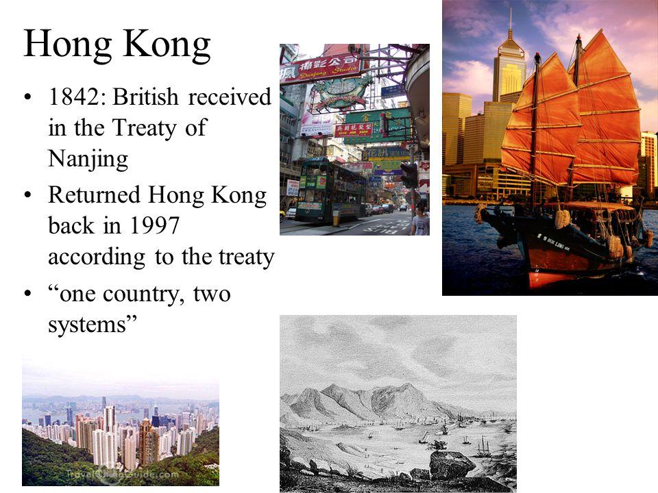Hong Kong 1842: British received in the Treaty of Nanjing