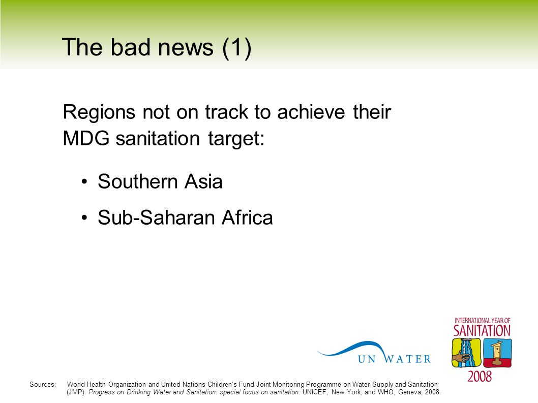 The bad news (1) Regions not on track to achieve their