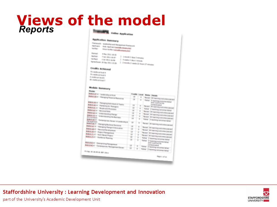 Views of the model Reports