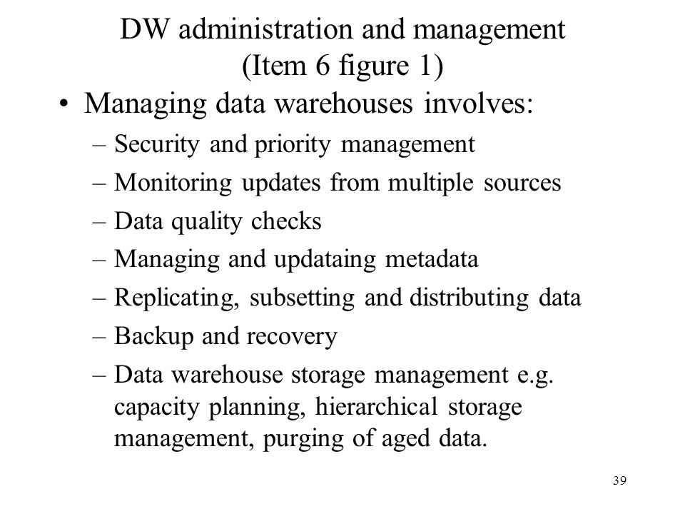DW administration and management (Item 6 figure 1)