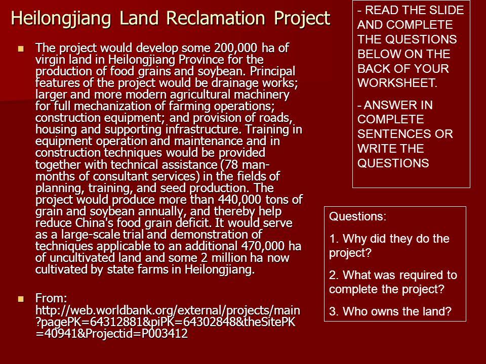 Heilongjiang Land Reclamation Project