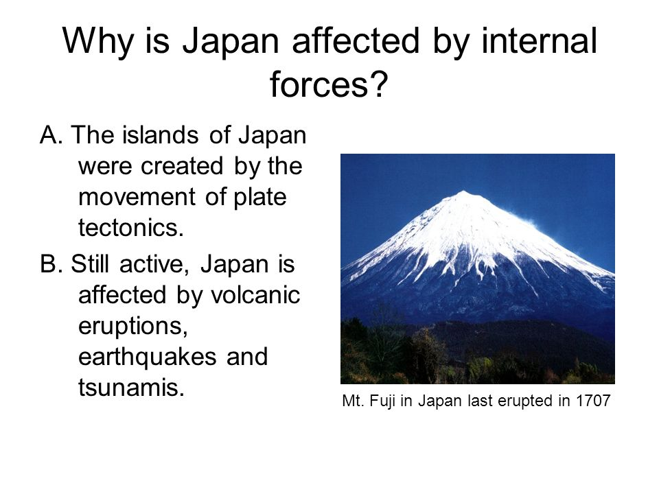 Why is Japan affected by internal forces