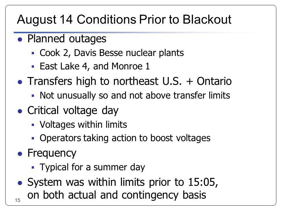 August 14 Conditions Prior to Blackout