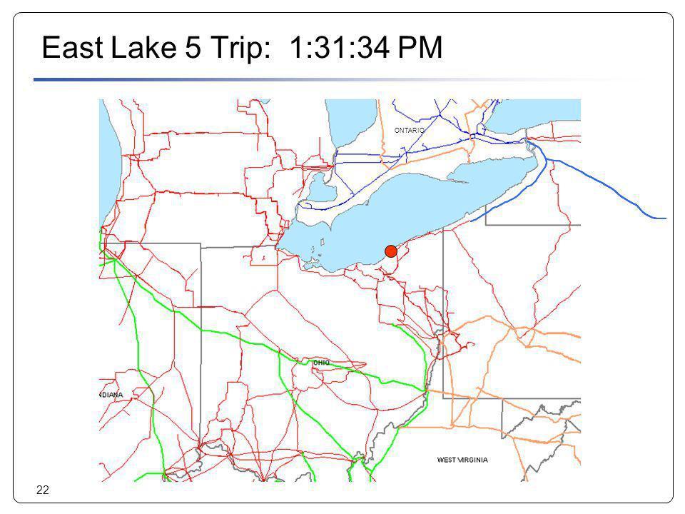 East Lake 5 Trip: 1:31:34 PM ONTARIO. ONTARIO. 2. 1.