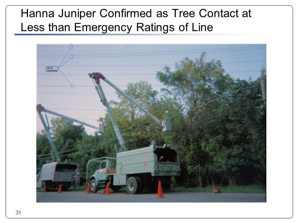 Hanna Juniper Confirmed as Tree Contact at Less than Emergency Ratings of Line