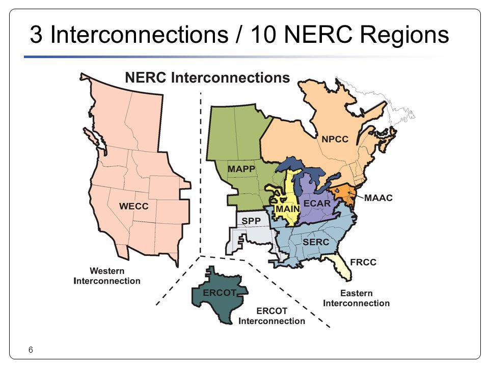 3 Interconnections / 10 NERC Regions