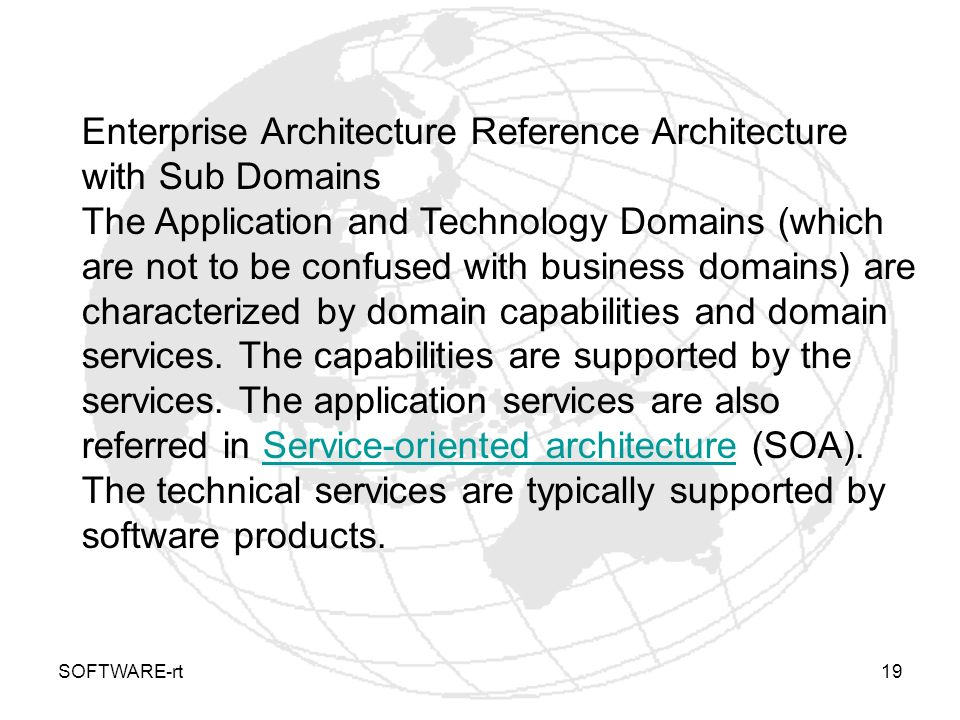 Enterprise Architecture Reference Architecture with Sub Domains
