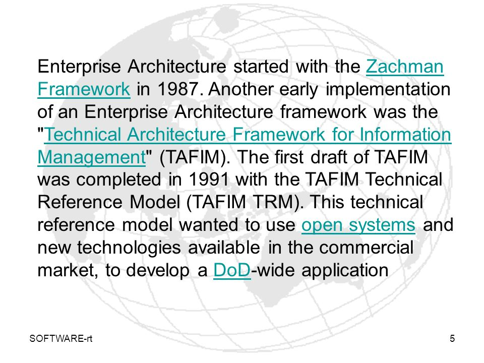 Enterprise Architecture started with the Zachman Framework in 1987
