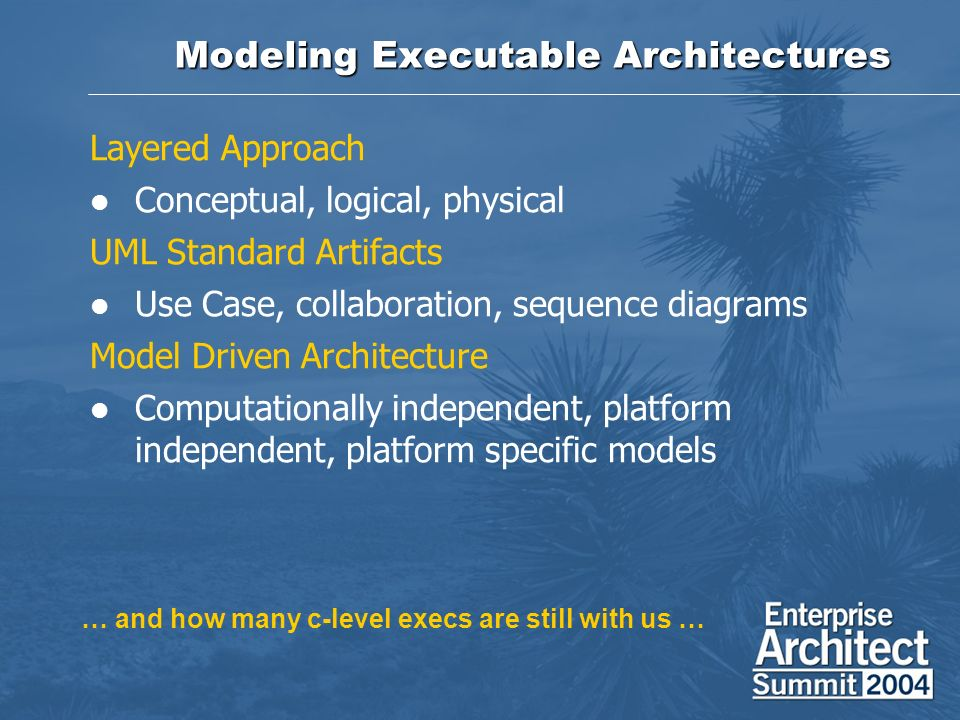 Modeling Executable Architectures