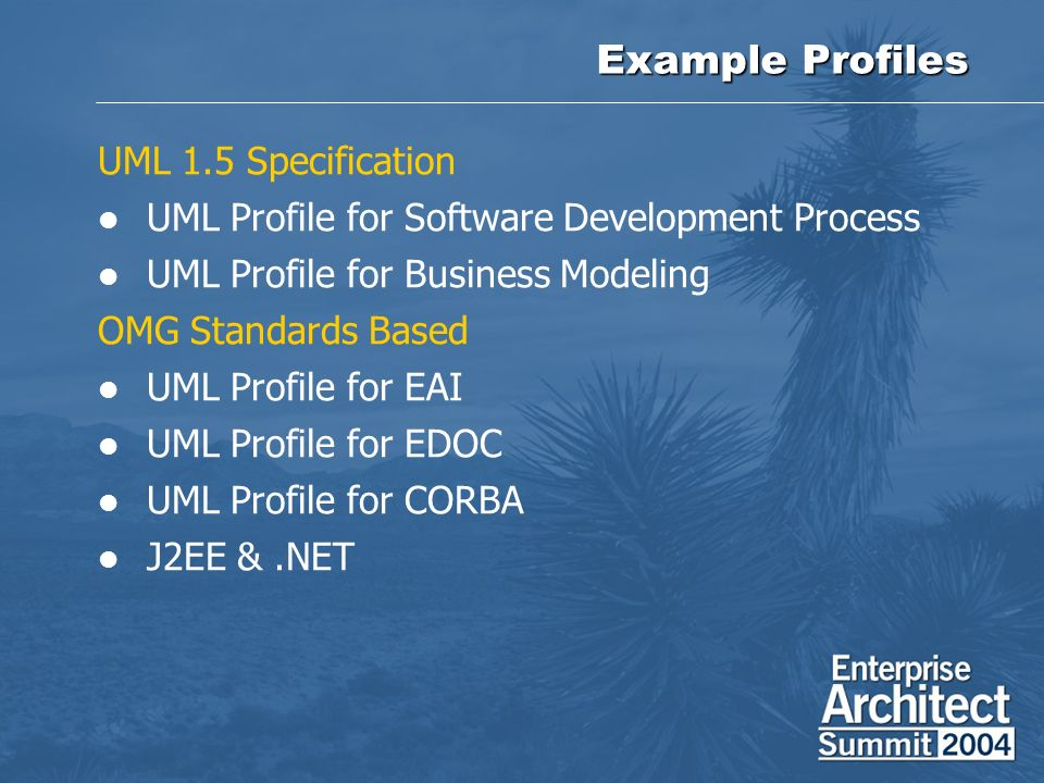 Example Profiles UML 1.5 Specification