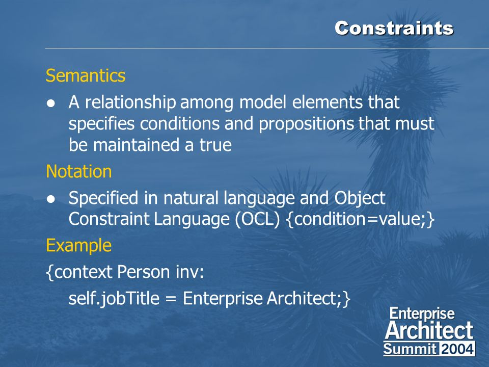 Constraints Semantics