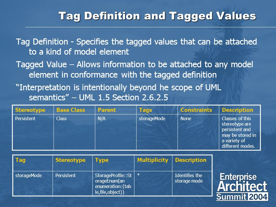 Tag Definition and Tagged Values