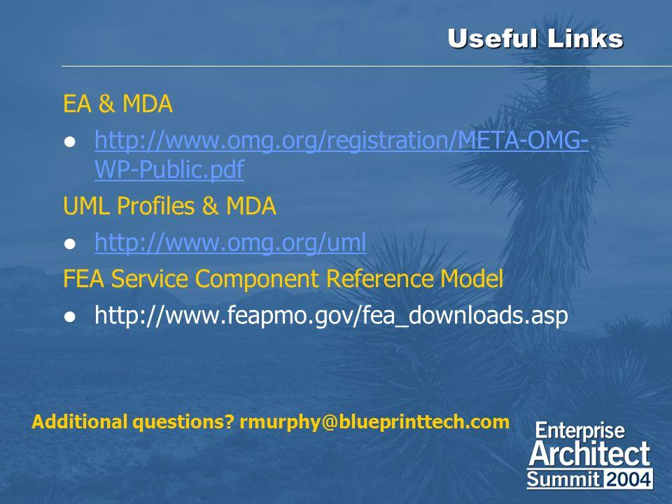 Useful Links EA & MDA. http://www.omg.org/registration/META-OMG-WP-Public.pdf. UML Profiles & MDA.