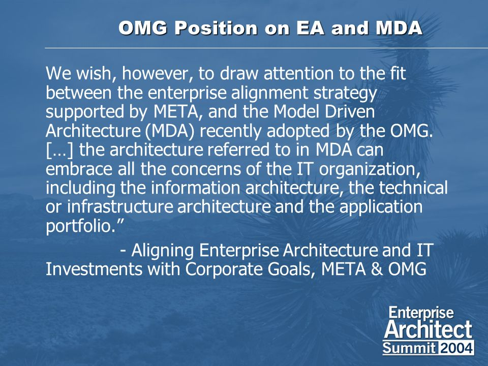 OMG Position on EA and MDA