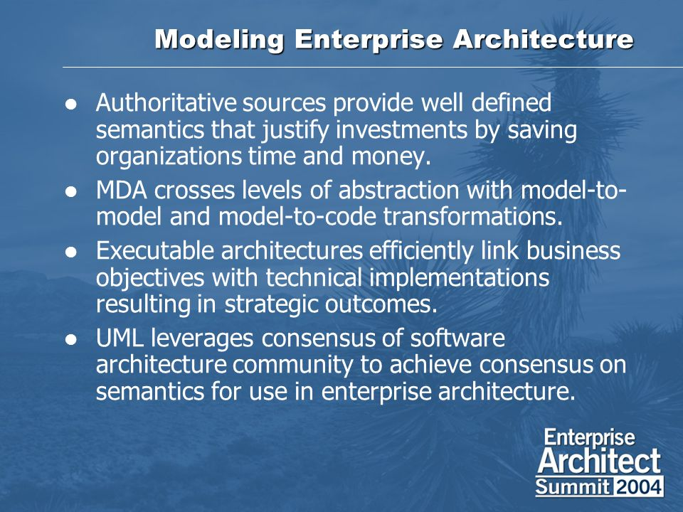 Modeling Enterprise Architecture