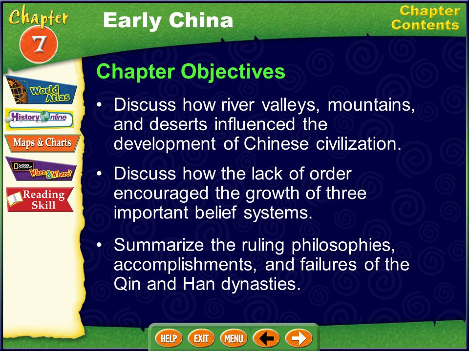 Early China Chapter Objectives