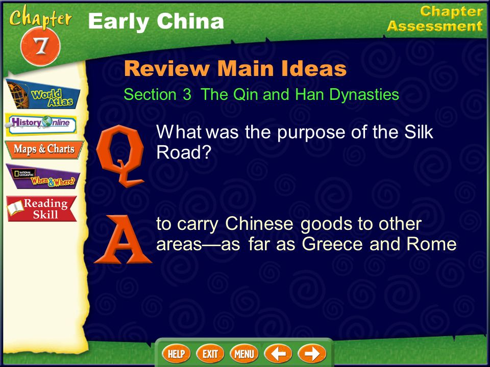 Early China Review Main Ideas What was the purpose of the Silk Road