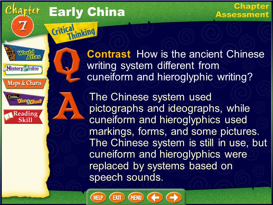 Early China Contrast How is the ancient Chinese writing system different from cuneiform and hieroglyphic writing
