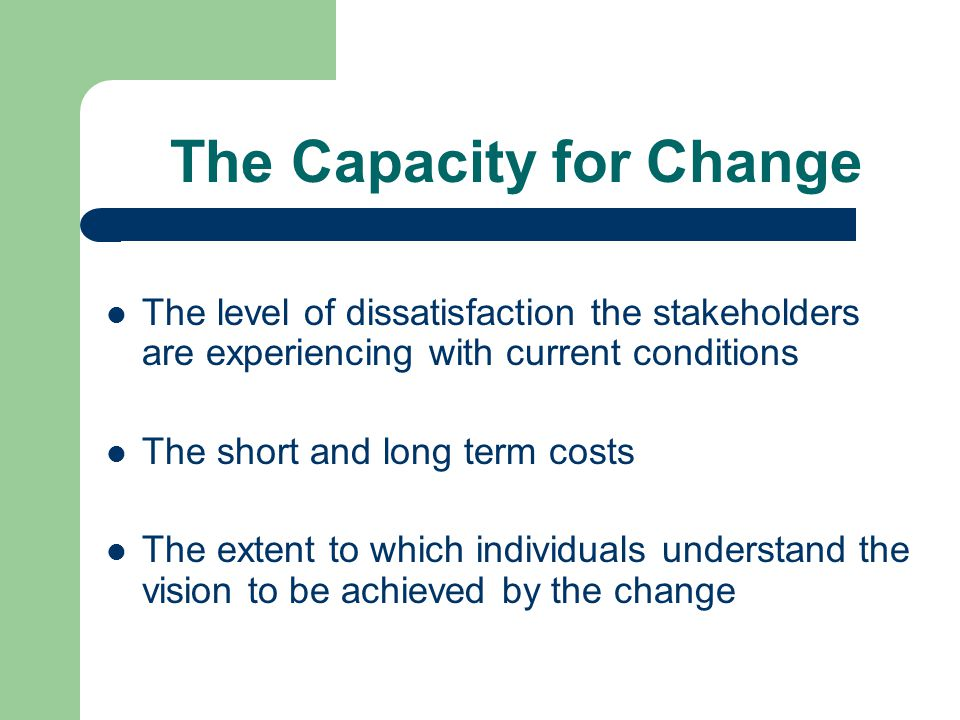 The Capacity for Change