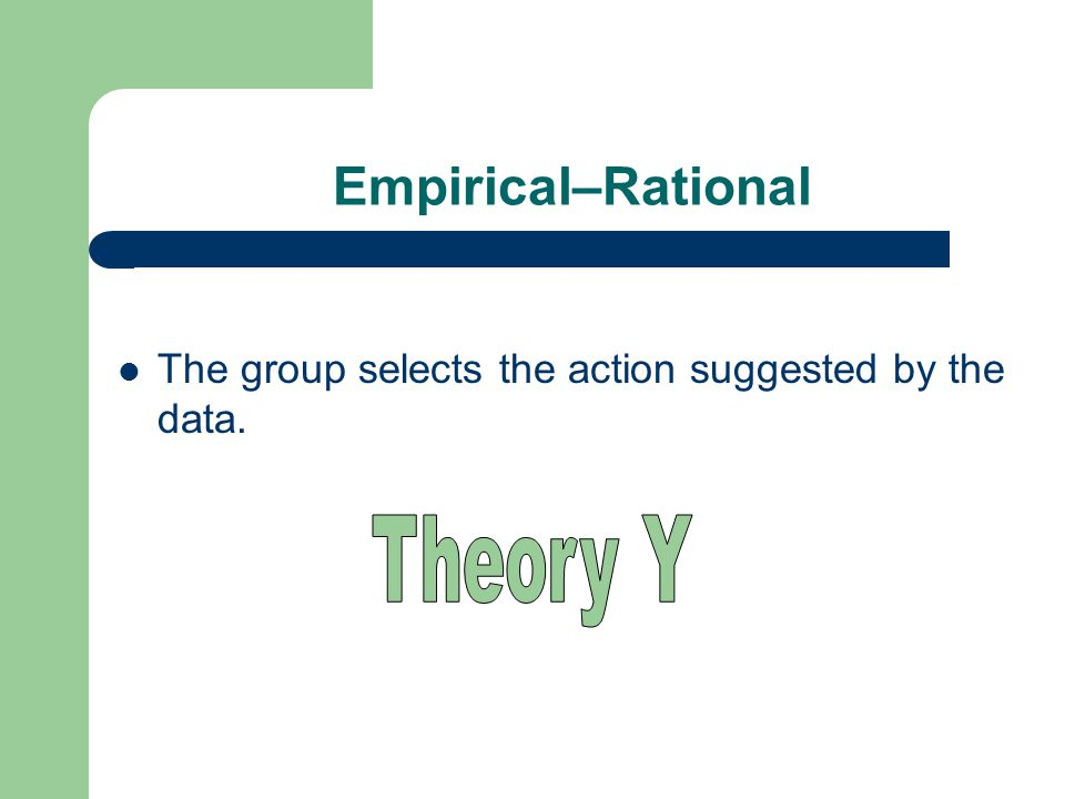 Empirical–Rational The group selects the action suggested by the data.