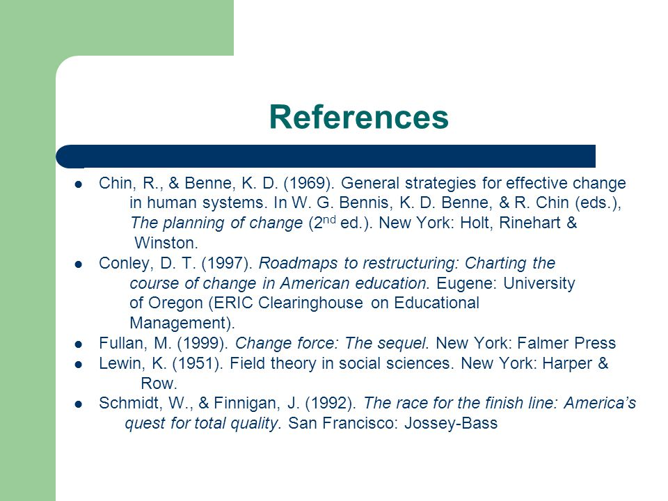 References Chin, R., & Benne, K. D. (1969). General strategies for effective change.