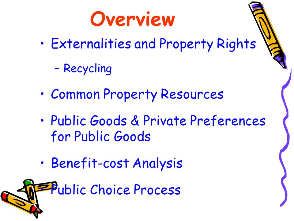 Overview Externalities and Property Rights Common Property Resources