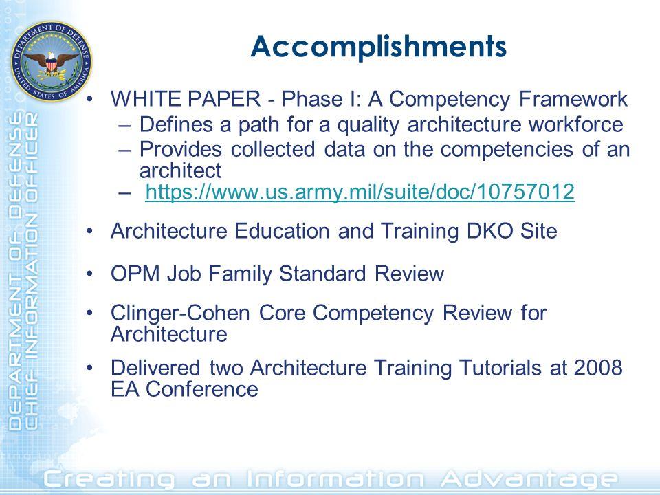 Accomplishments WHITE PAPER - Phase I: A Competency Framework