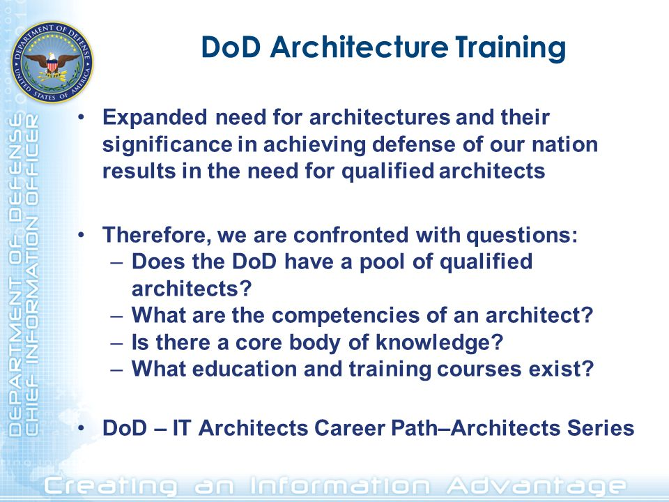 DoD Architecture Training