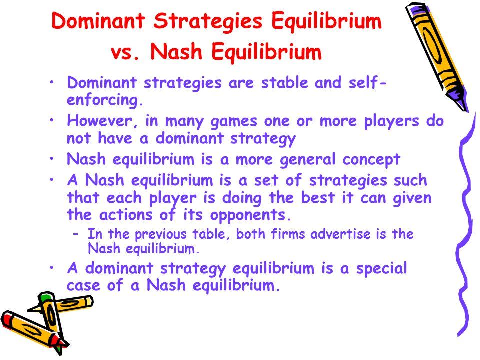 Dominant Strategies Equilibrium vs. Nash Equilibrium