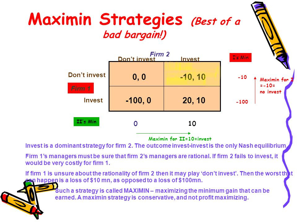 Maximin Strategies (Best of a bad bargain!)
