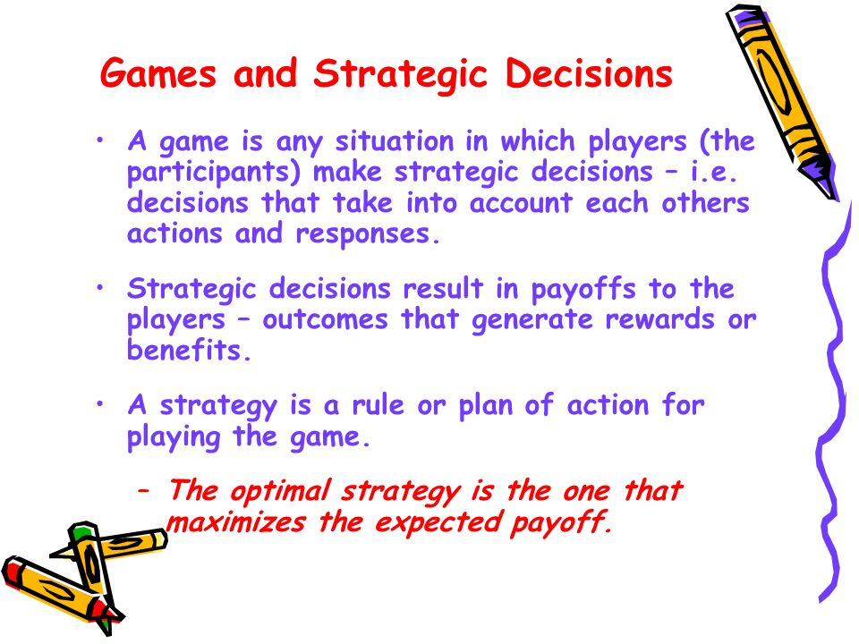 Game theory study of strategic decision making