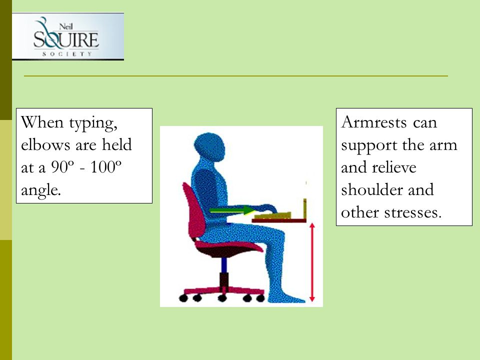 When typing, elbows are held at a 90º - 100º angle.
