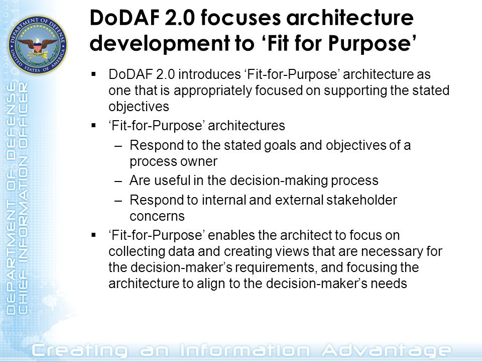 DoDAF 2.0 focuses architecture development to 'Fit for Purpose'
