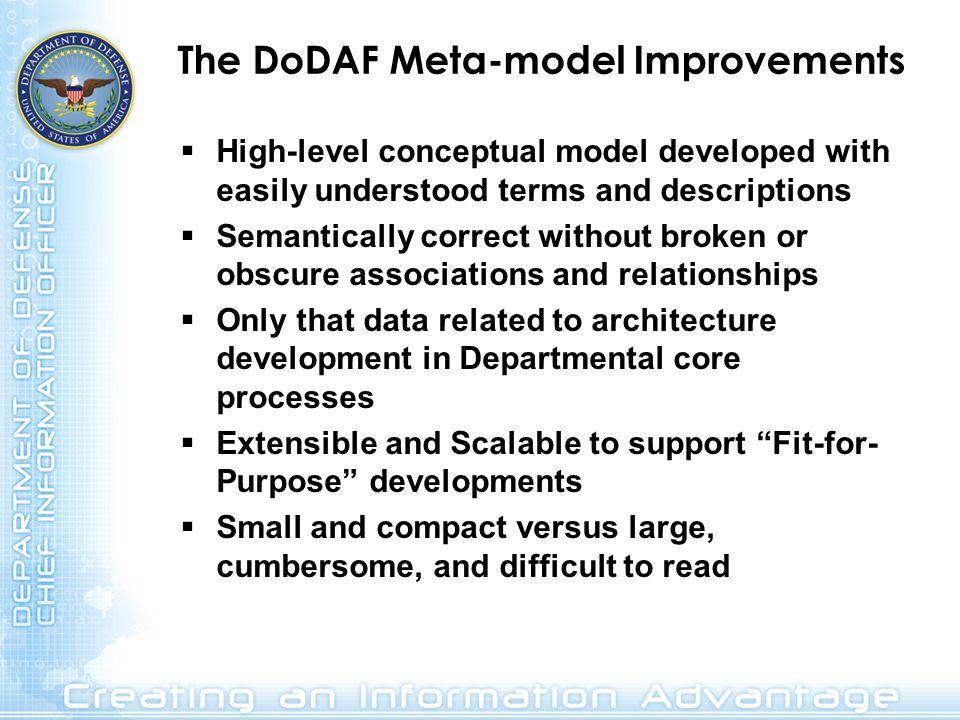 The DoDAF Meta-model Improvements