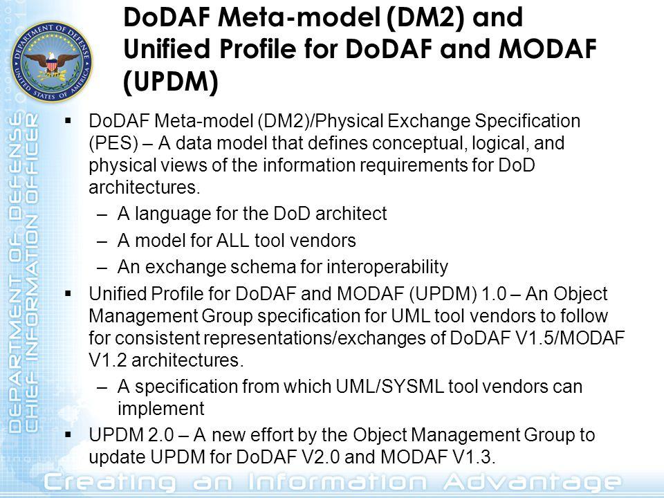 DoDAF Meta-model (DM2) and Unified Profile for DoDAF and MODAF (UPDM)