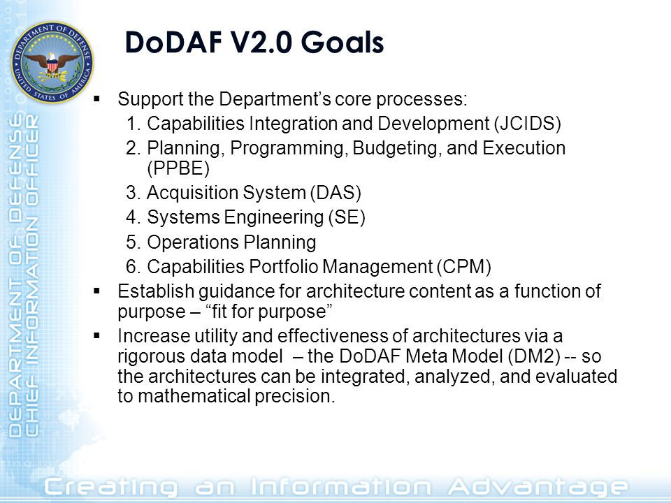 DoDAF V2.0 Goals Support the Department's core processes: