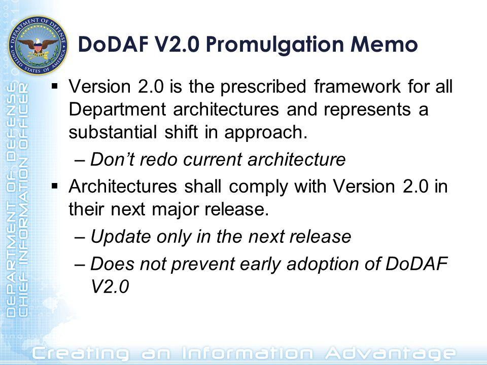 DoDAF V2.0 Promulgation Memo