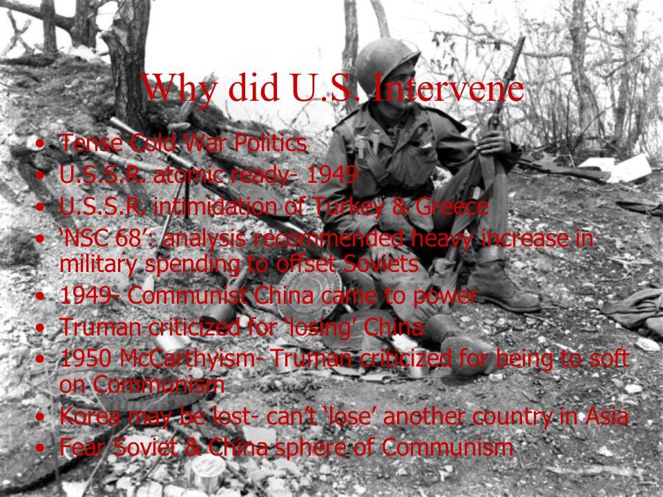Why did U.S. Intervene Tense Cold War Politics